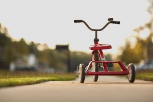 start small, tricycle, red, childhood